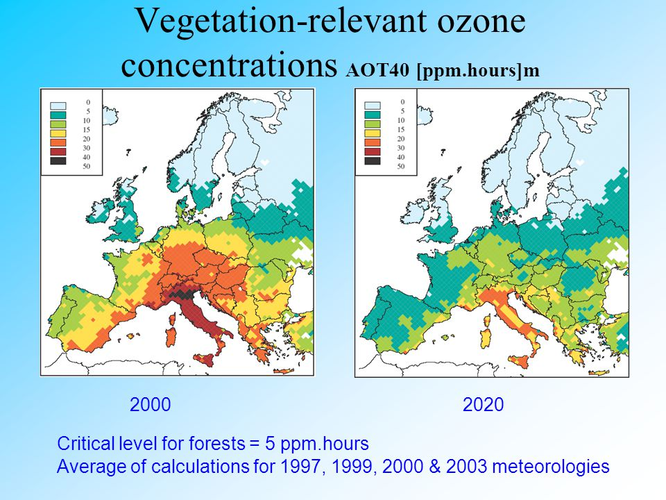 Vegetation-relevant ozone concentrations AOT40 [ppm.hours]m